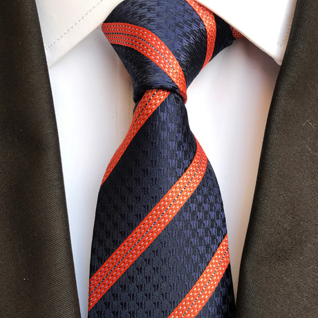 Willems Silk Tie // Navy + Orange