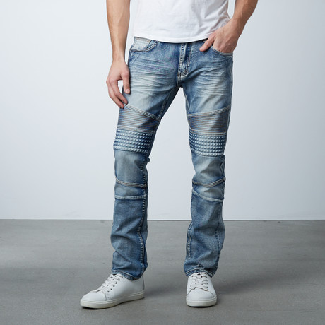 Faded Moto Jeans // Medium Blue (30WX32L)