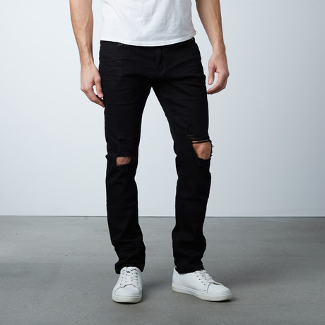 Blown Out Knee Jean // Black (30WX32L)