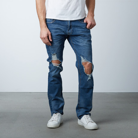 Blown Out Knee Jean // Medium Blue (30WX32L)