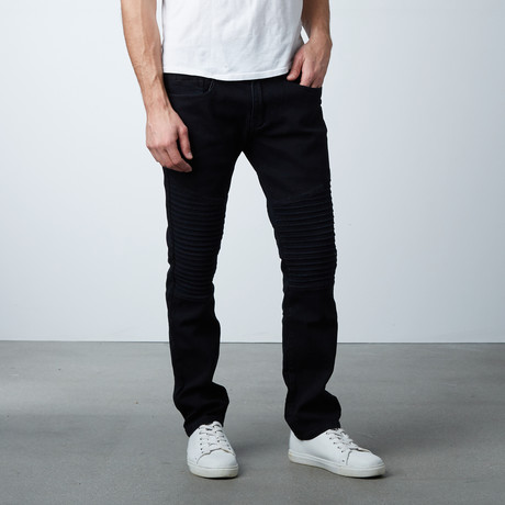 Long Panel Stretch Moto Jean // Washed Black (30WX32L)