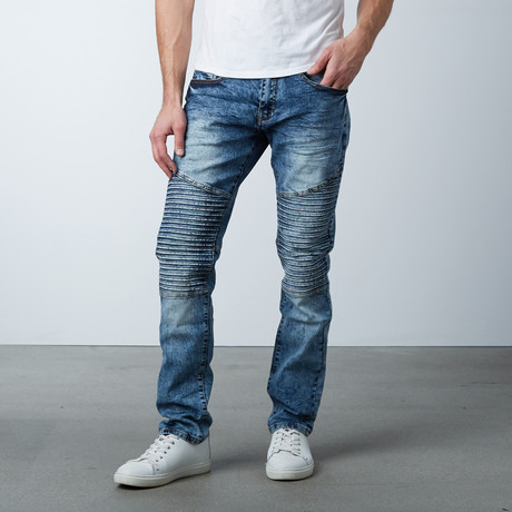 Long Panel Stretch Moto Jean // Blue (30WX32L)