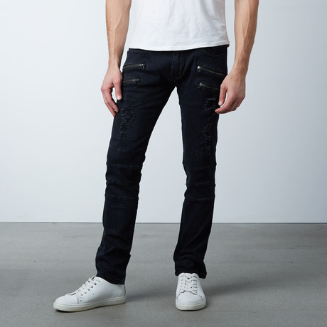 Distress Zip Jean // Black (30WX32L)