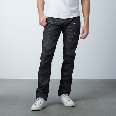 Slit Knee Coated Jean // Gray Camo (30WX32L)