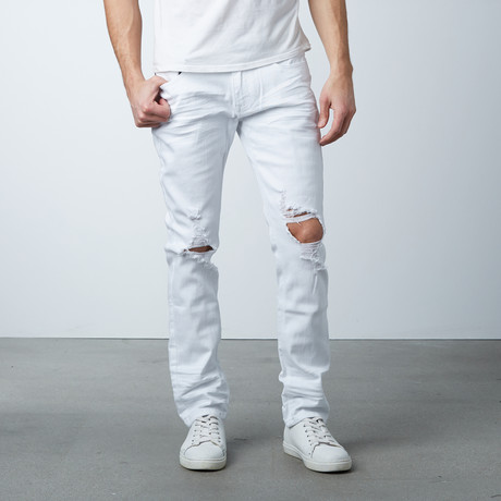 Blown Out Knee Jean // White (30WX32L)