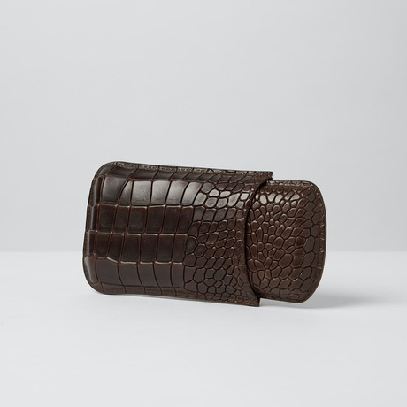 Deep Croco Embossed Leather Cigar Case // Big 3-Finger