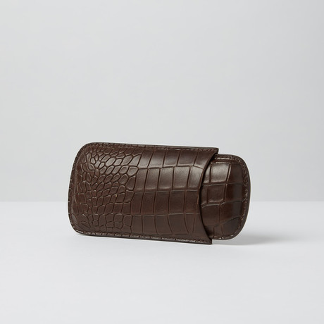 Deep Croco Embossed Leather Cigar Case // Standard (Black)