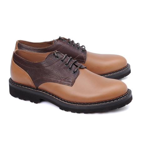 Rizzo Mixed Texture Color Clocked Derby // Brown + Tan