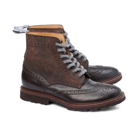 Napolitano Mixed Texture Wingtip Lace-Up Boot // Dark Brown (Euro: 39)
