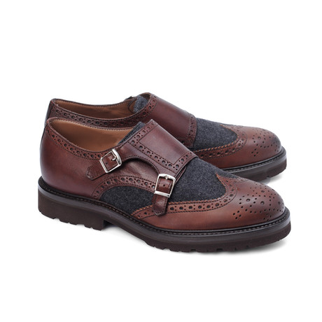 Cremonesi Mixed Texture Wingtip Double Monk // Cognac + Black (Euro: 39)
