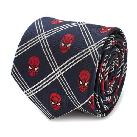 Spider-Man Navy Plaid Mens Tie