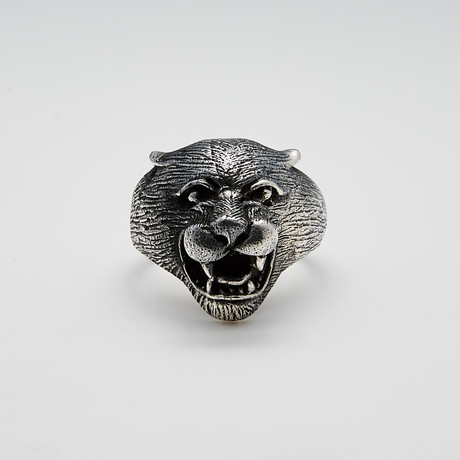 Sterling Silver Panther Head Ring // Silver