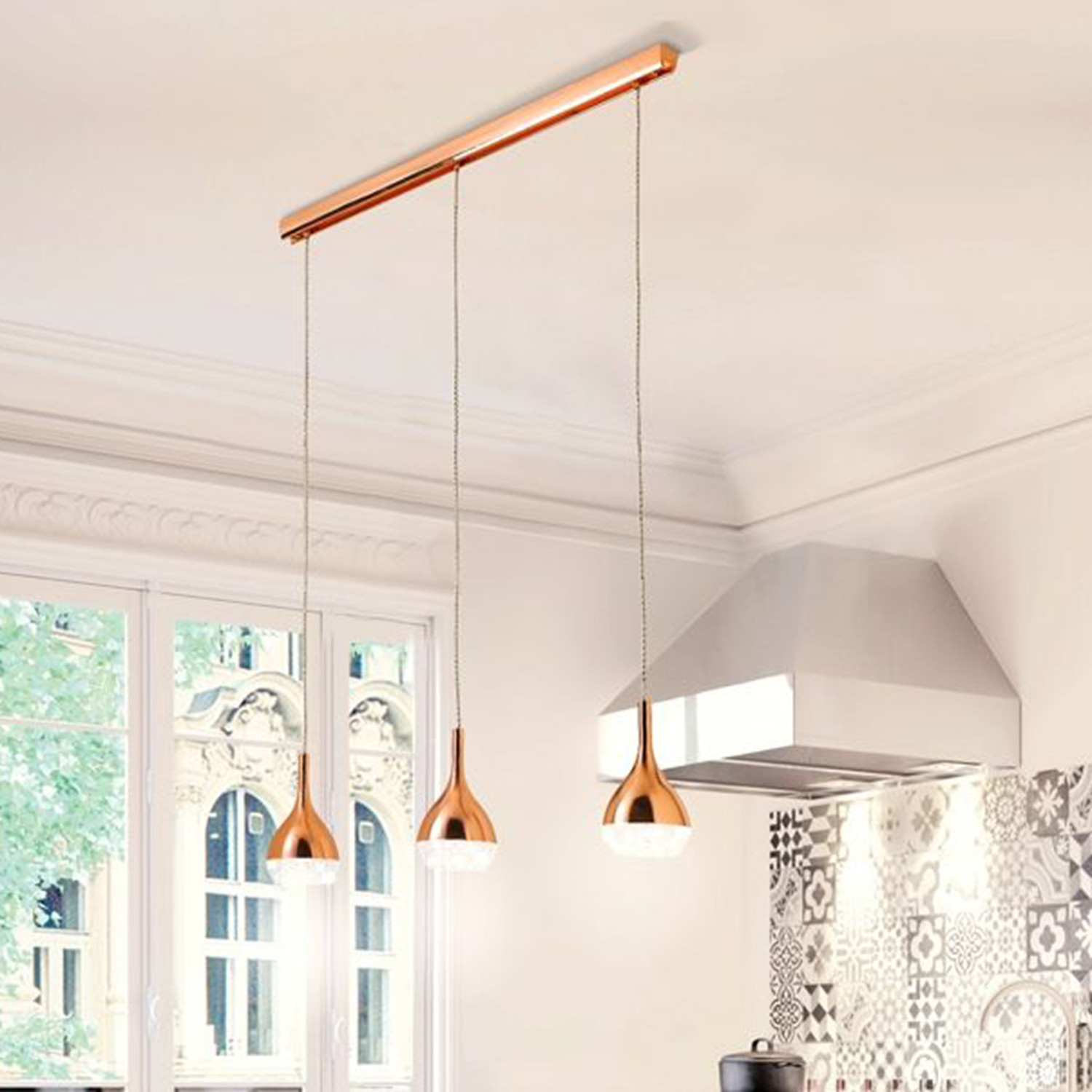 Kaluz Triple Kitchen Pendant Lamp Copper Clearance Home Kitchen Touch Of Modern