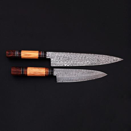 Damascus Kitchen Knife // 2 Piece Set // 9074