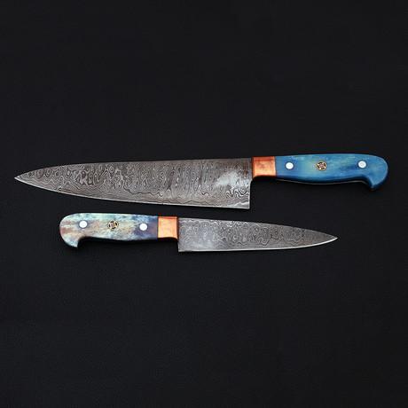 Damascus Kitchen Knife Set // 2 Piece Set // 9073