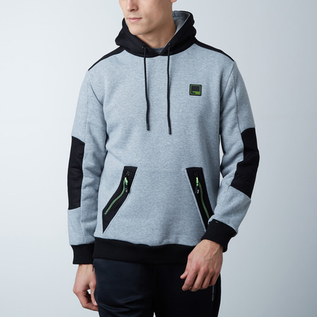 Hoodie With Contrast Panel // Grey Marl