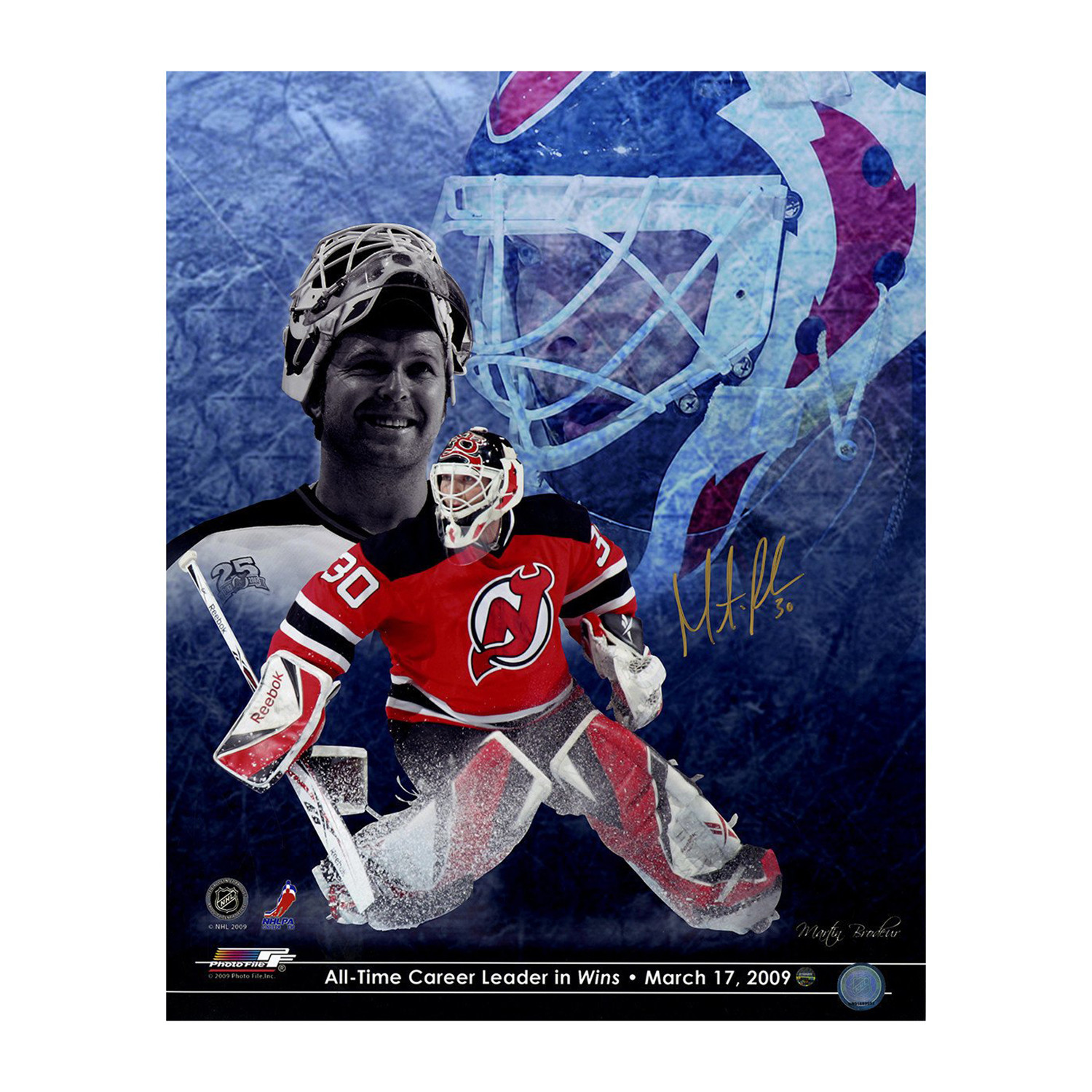 Martin Brodeur Signed All Time Wins Leader Photo Collage Steiner
