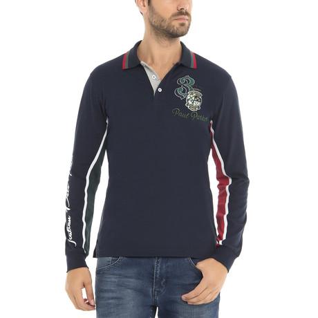 Three Long Sleeve Polo Shirt // Navy (XS)