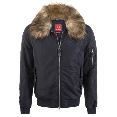 Fur Lined Winter Coat // Navy (XS)