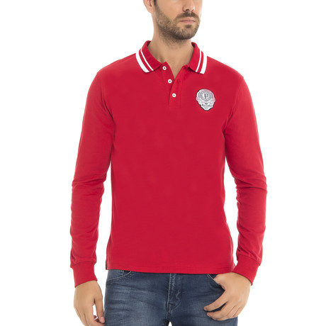 Long Sleeve Polo Shirt // Red (XS)