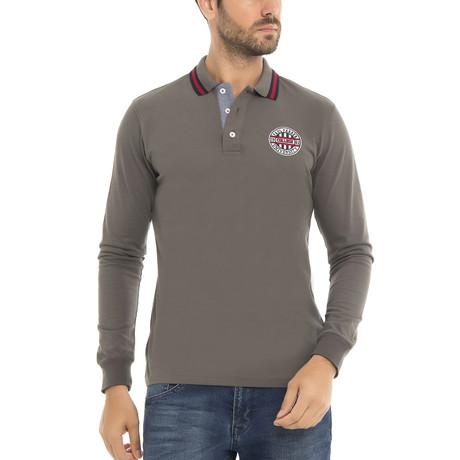University Long Sleeve Polo Shirt // Khaki (XS)
