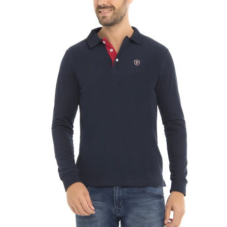 Logo Long Sleeve Polo Shirt // Navy (XS)