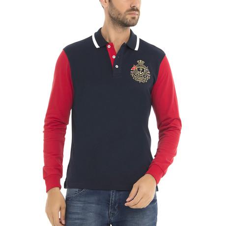 Yatching Long Sleeve Polo Shirt // Navy (XS)