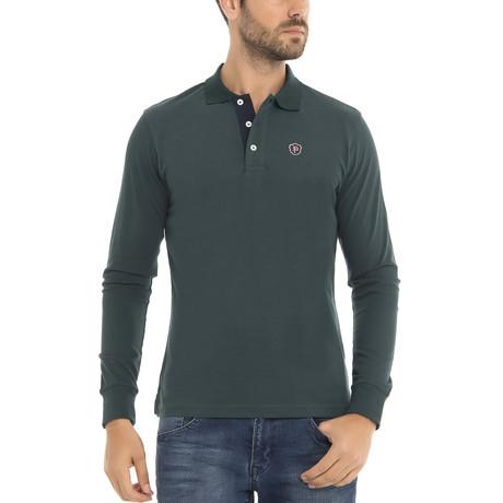 Logo Long Sleeve Polo Shirt // Dark Green (XS)