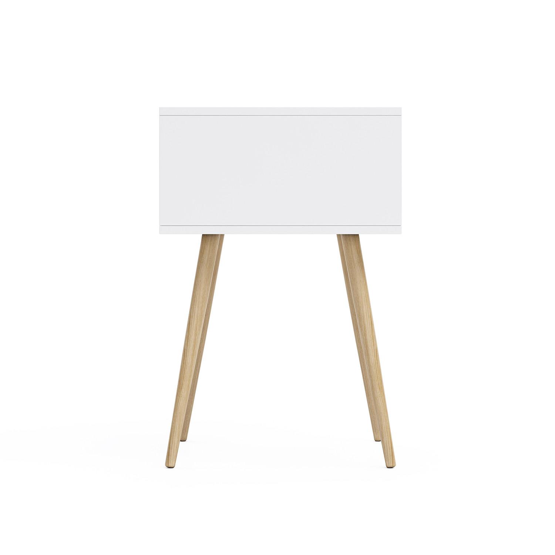 Blythe 2 drawer pocket side table white natural for Table 430 52