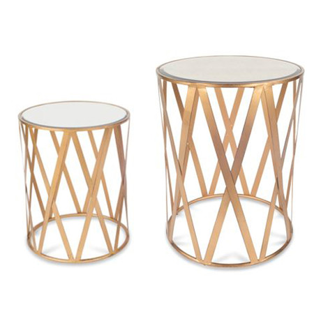 Clifton Drum Brushed Gold Table Set