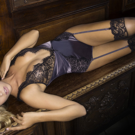 Arabella Satin And Lace Teddy // Excalibur + Black (S)