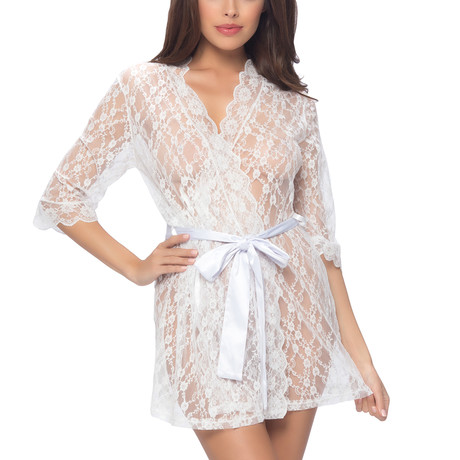 All Over Lace Robe // White