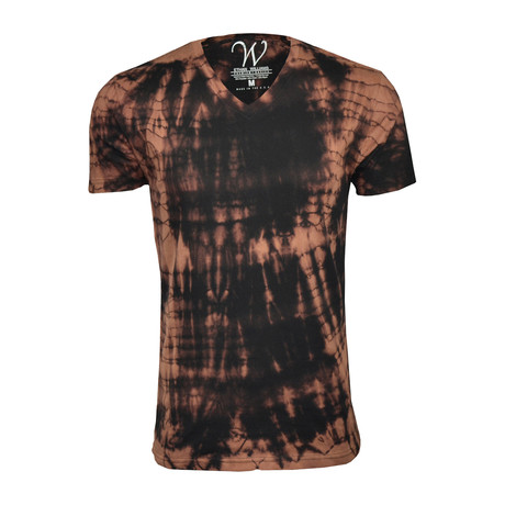 Ultra Soft Hand Dyed V-Neck // Brown + Black (S)