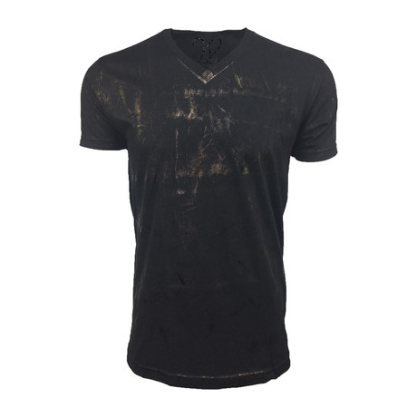 Ultra Soft Hand Dyed V-Neck // Metallic Black (M)