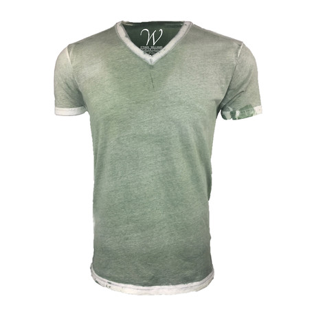 Ultra Soft Hand Dyed V-Neck // Stressed Military Green (S)