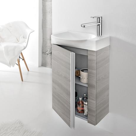 "Royo Elegance Vanity // Wall-Hung Cabinet + Ceramic Sink 18"" + Mirror (White)"
