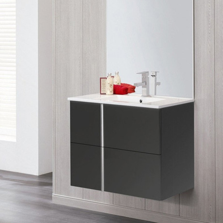 """Royo ONIX 24"""" Wall-hung Vanity Cabinet + 1-hole Sink + 2 Sliding Drawers"""
