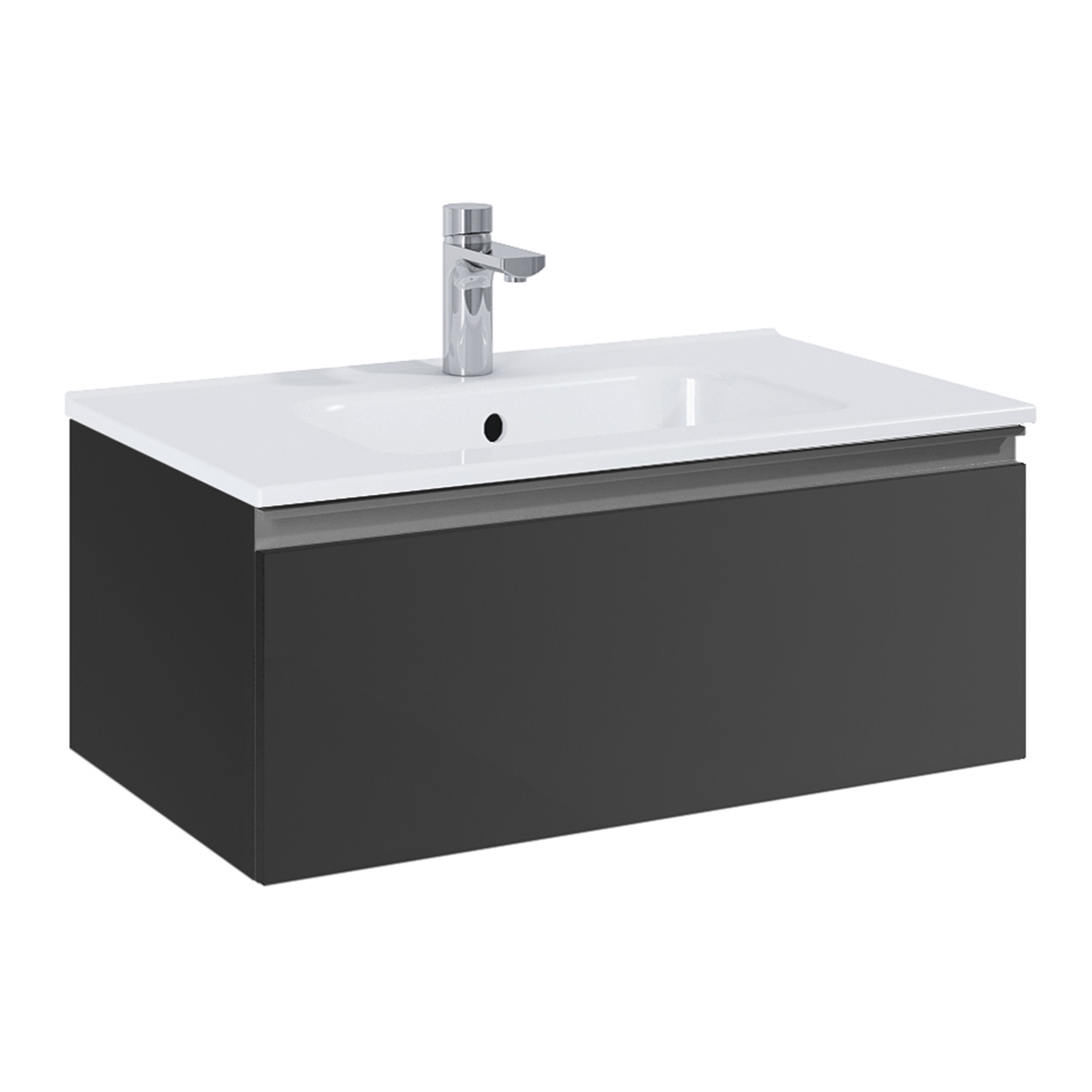 Royo VIDA // Wall-Hung Bathroom Vanity Cabinet + Sliding Drawer + ...
