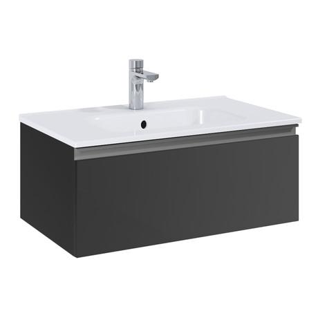 "Royo VIDA // Wall-Hung Bathroom Vanity Cabinet + Sliding Drawer + Sink // Dark Gray (24"")"