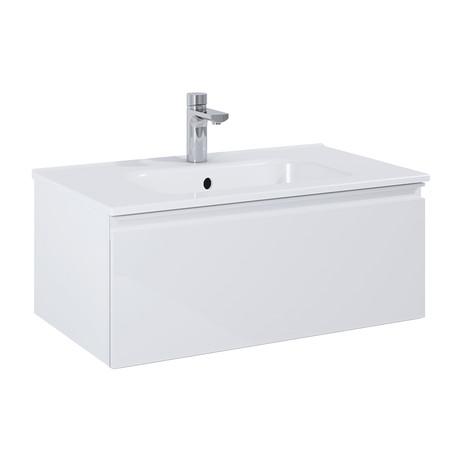 "Royo VIDA // Wall-Hung Bathroom Vanity Cabinet + Sliding Drawer + Sink // White (24"")"