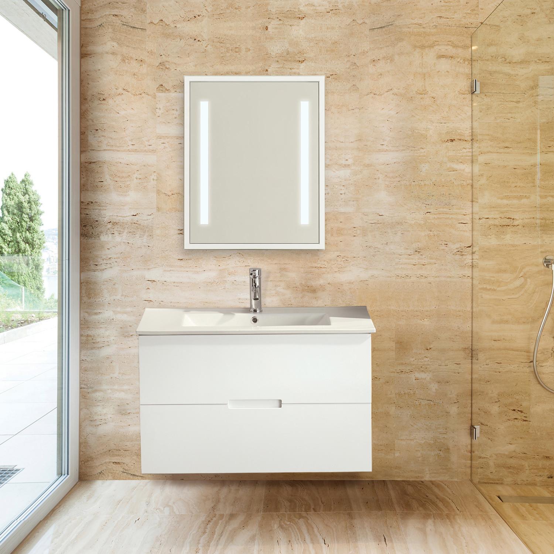 Sasha Floating Wall Hung Bathroom Vanity Sink Top 2 Drawers