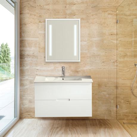 "Sasha Floating Wall-Hung Bathroom Vanity + Sink-Top + 2 Drawers // White (24"")"