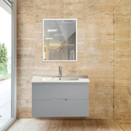 "Sasha Floating Wall-Hung Bathroom Vanity + Sink-Top + 2 Drawers // Gray (24"")"