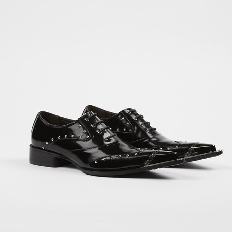 Leather Fashion Shoes Metal Toe Oxford Lace Up // Black (US: 7)