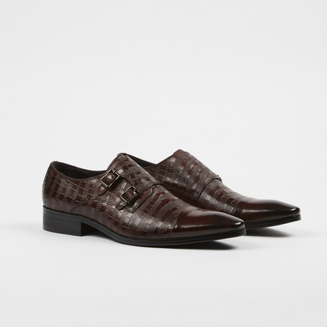 Double Monk Strap Leather Dress Shoes // Brown (US: 6)