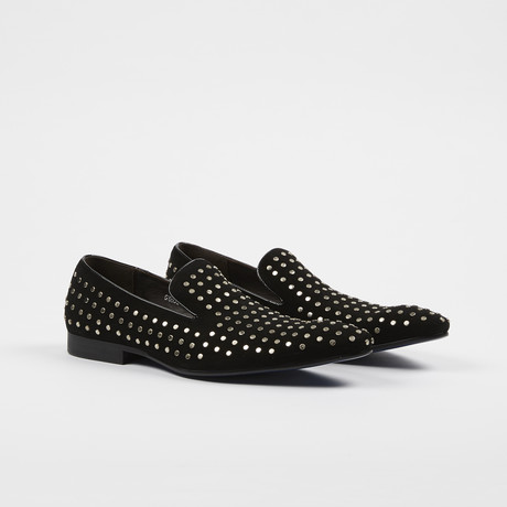 Silver Studded Slip On Shoes // Black (US: 7)