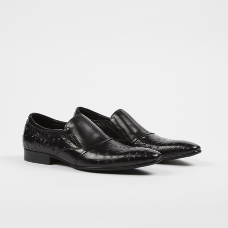 Ostrich Print Leather Slip-On Loafer Shoes // Black