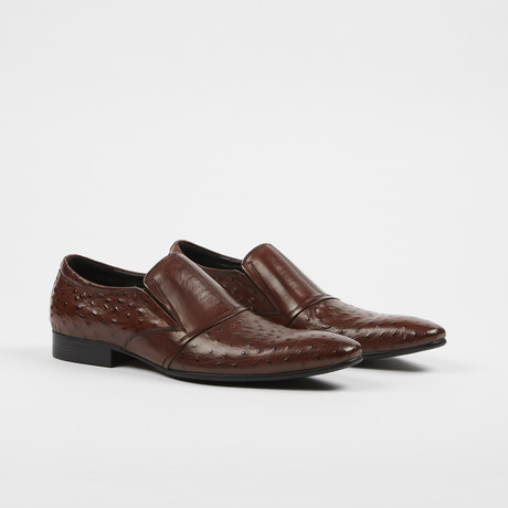 Ostrich Print Leather Slip-On Loafer Shoes // Brown (US: 7)