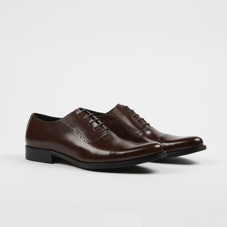 Leather Cap Toe Brogue Oxford Shoes // Brown (US: 7)