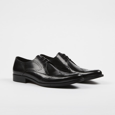 Leather Lace-Up Brogue Wing Tip Cap Toe Shoes // Black (US: 7)